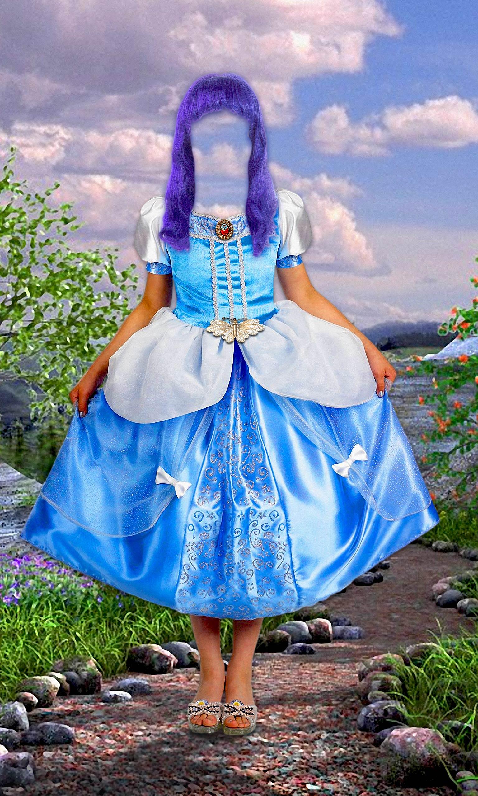 Шаблон для фотомонтажа.  Формат: PSD Размер: 5 мб.  Девочка в голубом платье.