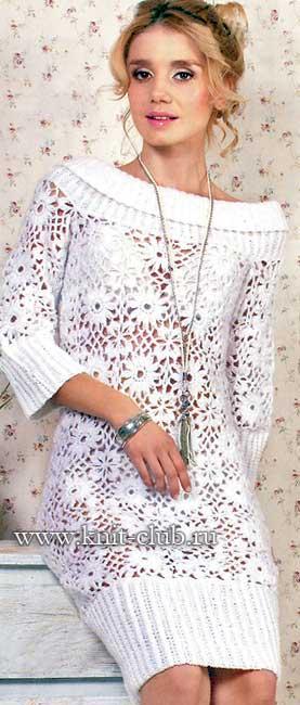 Белое платье из мотивов