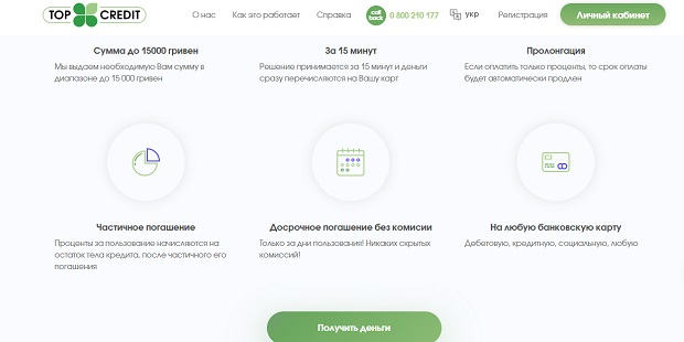 деньги на любую карту Украины topcredit.ua