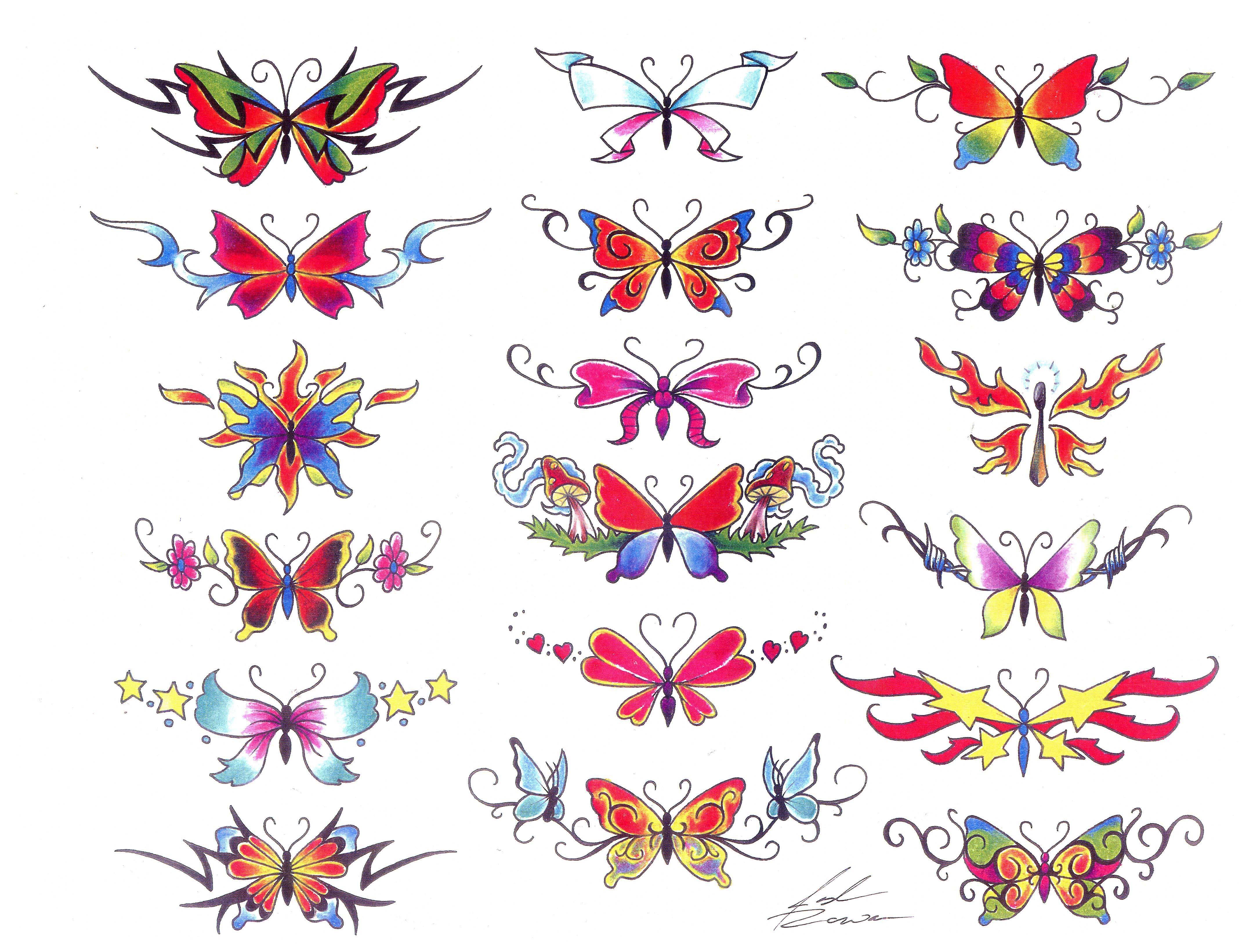 Эскизы тату на пояснице с бабочкой